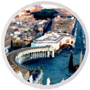 Round Beach Towel featuring the digital art On Top Of Vatican 1 by Brian Reaves