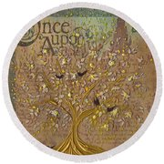 Once Upon A Golden Garden By Jrr Round Beach Towel by First Star Art