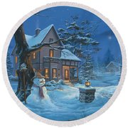 Once Upon A Winter's Night Round Beach Towel