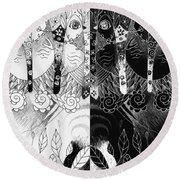 One And All - Black And White Round Beach Towel