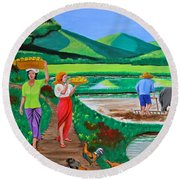 One Beautiful Morning In The Farm Round Beach Towel