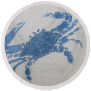 One Blue Crab On Sand Round Beach Towel