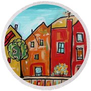 Round Beach Towel featuring the painting One House Has A Screen Door by Mary Carol Williams