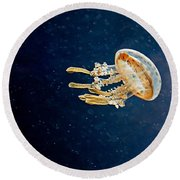 One Jelly Fish Art Prints Round Beach Towel