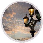 One Light Out - Westminster Bridge Streetlights - River Thames In London Uk Round Beach Towel by Georgia Mizuleva