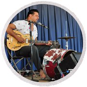Round Beach Towel featuring the photograph One Man Band - Bloodshot Bill by Mike Martin