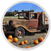 Round Beach Towel featuring the photograph One More Pumpkin by Michael Gordon