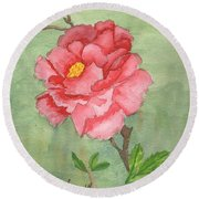 One Rose Round Beach Towel by Pamela  Meredith