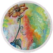 Round Beach Towel featuring the painting One Solitary Flower by Eloise Schneider