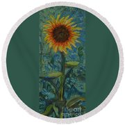 One Sunflower - Sold Round Beach Towel