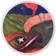 Round Beach Towel featuring the painting One Team Two Heroes - 2 by Donald J Ryker III