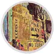 One Way To Uptown Round Beach Towel by Susan Stone
