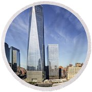 One World Trade Center Reflecting Pools Round Beach Towel