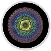 Round Beach Towel featuring the painting Oneness by Keiko Katsuta
