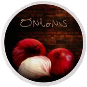 Onions II Round Beach Towel by Lourry Legarde