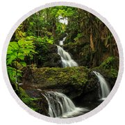 Onomea Falls Round Beach Towel by James Eddy