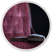 Open Book On Vintage Chair Round Beach Towel