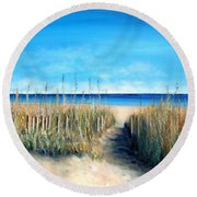 Open Invitation Round Beach Towel by Laurie Morgan