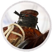 Open Range Saddle Round Beach Towel