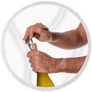 Opening A Bottle Of Wine Round Beach Towel