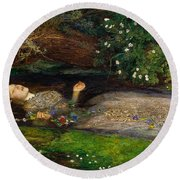 Ophelia  Round Beach Towel by John Everett Millais