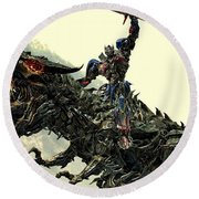 Optimus Prime Riding Grimlock Round Beach Towel