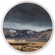 Oquirrh Mountains Winter Storm Panorama 2 - Utah Round Beach Towel