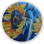Orange And Blue Round Beach Towel