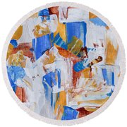 Round Beach Towel featuring the painting Orange And Blue by Heidi Smith