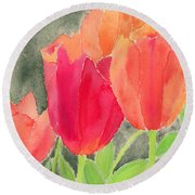 Orange And Red Tulips Round Beach Towel