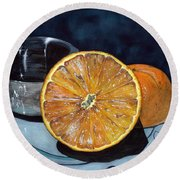 Round Beach Towel featuring the painting Orange And Silver by Barbara Jewell