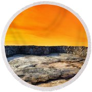 Orange Blaze Round Beach Towel