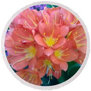 Orange Bouquet Round Beach Towel by Claudia Goodell