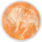 Orange Bull Negative Round Beach Towel