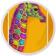 Orange Carosel Giraffe Round Beach Towel