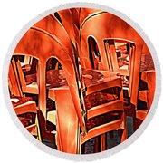 Orange Chairs Round Beach Towel