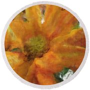 Orange Chrysanthemem Photoart Round Beach Towel