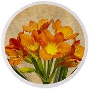 Orange Clivia Lily  Round Beach Towel by Sandra Foster