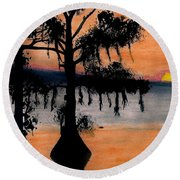 Round Beach Towel featuring the drawing Orange Cypress Sunset by D Hackett