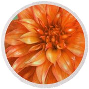 Round Beach Towel featuring the digital art Orange Dahlia by Jane Schnetlage