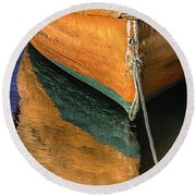 Round Beach Towel featuring the photograph Orange Dinghy In Warm Sun by Betty Denise