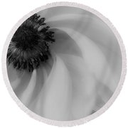 Orange Flower In Black And White Round Beach Towel