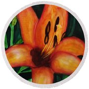 Beautiful Lily Flower Round Beach Towel
