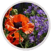 Orange Flowers Round Beach Towel