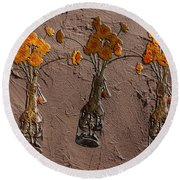 Orange Flowers Embedded In Adobe Round Beach Towel
