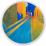 Orange France At Night Round Beach Towel