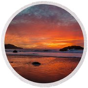 Orange Glow Round Beach Towel