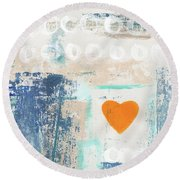 Orange Heart- Abstract Painting Round Beach Towel