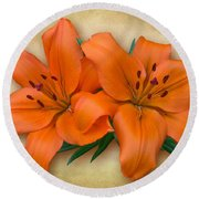 Orange Lily Round Beach Towel by Jane McIlroy