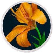 Orange Lily Profile Round Beach Towel